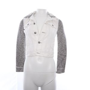 Free People White Gray Cotton Hoodie Jacket XS